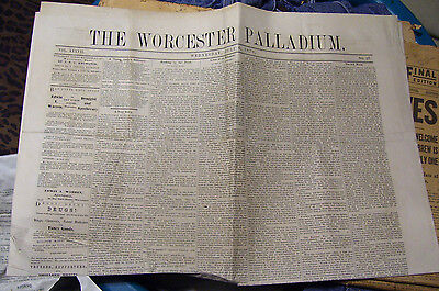 July 6 1870 THE WORCESTER PALLADIUM NEWSPAPER 4 Page Broadsheet