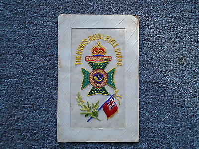 Ww1 Silk Postcard ' The Kings Royal Rifle Corps '