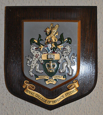Royal College of Defence Studies regimental mess wall plaque shield