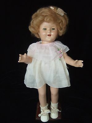 ANTIQUE AMERICAN COMPOSITION 'SHIRLEY TEMPLE' DOLL - c.1930's.  approx 16 ins