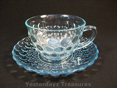 Beautiful Teacup and Saucer by Anchor Hocking, Bubble, Color: Blue Great Cond.