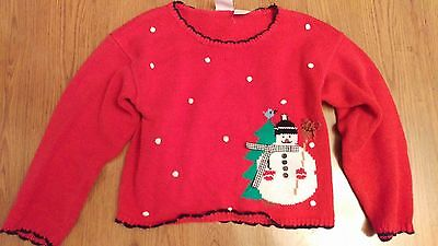 Kids Size 6x Ugly Christmas Sweater Tacky, Snowman, Red with snowflakes