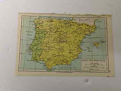Spain & Portugal Map Old Vintage Original Print 1942 Railway Routes Xmas Gift
