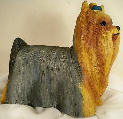Dog Figurine YORKSHIRE TERRIER Standing/Stacked UK 1988  Signed GORGEOUS RARE