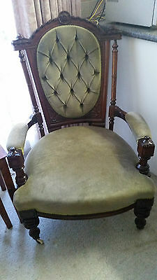 Victorian / Edwardian Walnut And Velvet Grandfather Lounge Chair