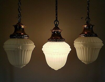Set 3 Antique c1900 White Opaline Ceiling Lamps Lights Copper Galleries. Rewired