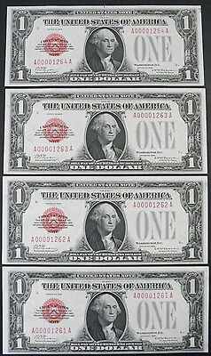 5 Consecutive Serial Number 1928 $1 Red Seal Notes Sequential