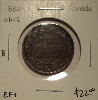 B Canada Victoria 1882H Obv 2 Large Cent - EF+
