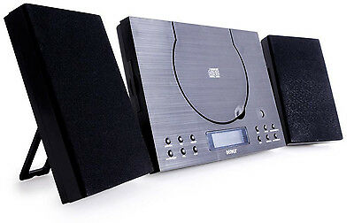 CD Player Bluetooth System Wall Mountable Compact Stereo With Radio Clock Alarm