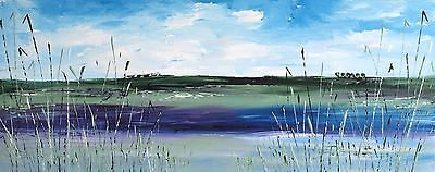 LARGE LANDSCAPE ORIGINAL MODERN ACRYLIC  ABSTRACT KNIFE PAINTING 100x40cm canvas