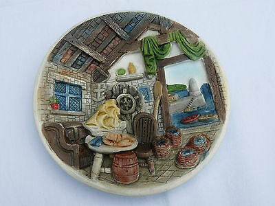 "Wall art plaque 3D ""Cottage interior"" Fowey Cornwall. Pill Pixie Craft. VGC"
