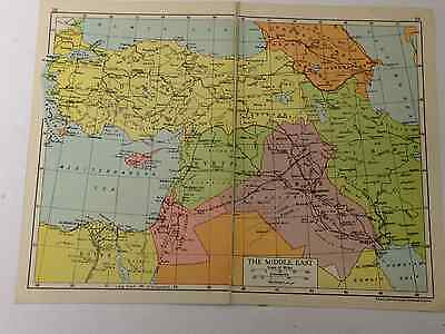 Middle East Map Old Vintage Original Print 1942 Railway Routes Gift Boyfriend