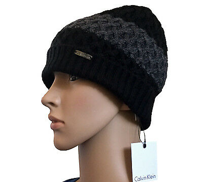 761806a8180 Calvin Klein Women s Black Charcoal Cable Knit Beanie with Ribbed Cuff Sz OS