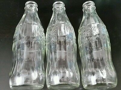 3 Vintage Coca-Cola Coke Ribbed Glass Bottles 2 Clear 10 oz No Refill