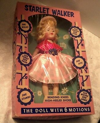 """12"""" Starlet Walker Doll  With Box, Made by the Admiration Toy Co. NY,circa 1950s"""