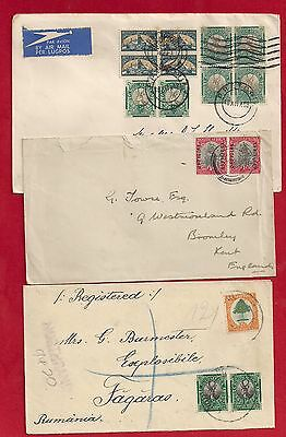 South Africa UK - GB and Romania 3 x cover (one registered, one w.official stamp