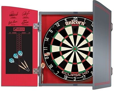 New Dart Board Set In Silver Cabinet High Visibility Ultra Slim Tournament