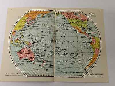 Pacific Ocean Map Old Vintage Original Print 1942 Railway Routes dad Grand Dad