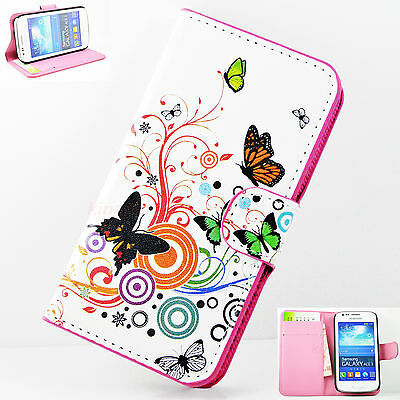 Butterfly Flip Leather Wallet White Case Cover For Samsung Galaxy Ace 3 S7272