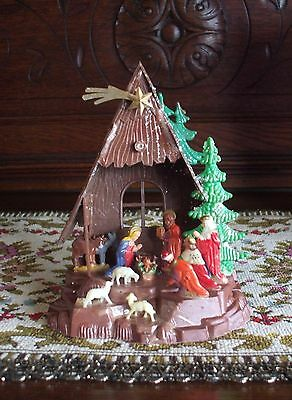 Vintage Christmas Nativity Scene Hard Plastic One Piece Hong Kong Glitter Levels