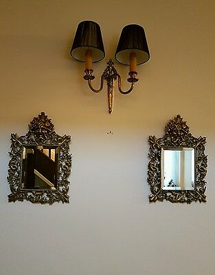 Pair of Green Man Antique Victorian c1870 Brass Bevelled Wall Mirrors