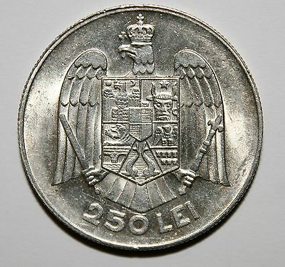 Romania - 250 Lei 1935 . Full Mint Luster . High Grade . Low Mintage .