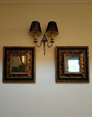 Pair French Antique Victorian c1870 Wall Mirrors Leppard Effect Gilding Foxing