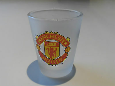 He Shoots He Scores Manchester United Frosted Shot Glass FreePost UK