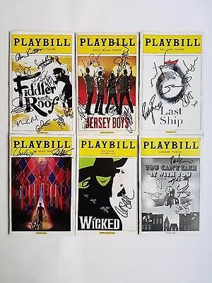 Broadway Playbills: Lot of 6 Signed - Fiddler, Jersey Boys, Wicked, and more!