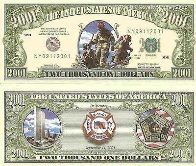 9/11 Fire Fighters New York City 2001 Dollar Bills x 4 World Trade Center