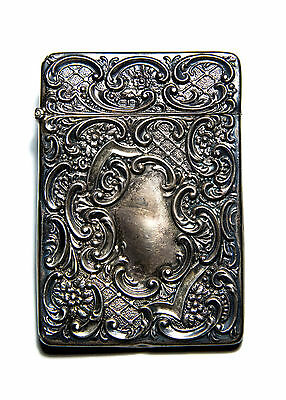 Stunning Antique Edwardian Sterling Silver Calling Card Case 1902
