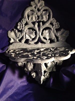 VERY OLD VINTAGE METAL 3-PIECE GARDEN SHELF w/ LEAVES & VINES