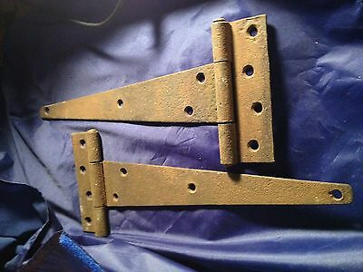 2 Very Old Rustic Tee Strap Barn or Shed Door Hinges 10""