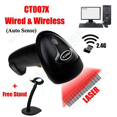 2.4G Wireless Automatic Laser Barcode Scanner Bar Code Reader For POS+Free Stand
