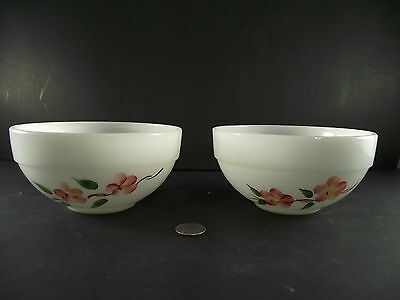 """2  6""""  Gay Fad White Fire King  Mixing Bowls"""