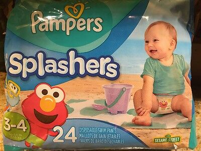 Pampers Splashers Size 3-4 Months 24 Count Disposable Swim Pants Diapers ELMO!
