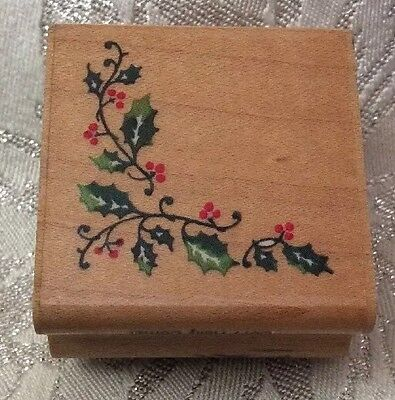 Christmas Rubber Stamp - Holly Corner (1 inch square)