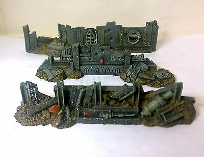 WARHAMMER 40000 40k  URBAN BARRICADES SCENERY PRO PAINTED LOT 2 city of death