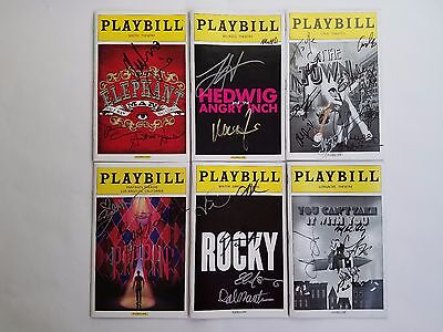 Broadway Playbills: Lot of 6 Signed - Hedwig, On the Town, Pippin, and more!