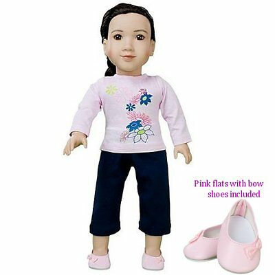 """My Twinn & AG ~18"""" Pink Flowers 4 pc. Outfit~Shirt, pants & pink shoes too"""