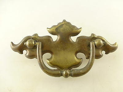 Vintage Brass Tone Metal Drawer Pull with Back Plate Architectural Salvage
