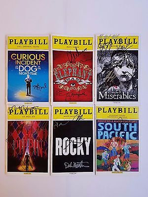 Broadway Playbills: Lot of 6 Signed - Les Miserables, Pippin, Rocky, and more!