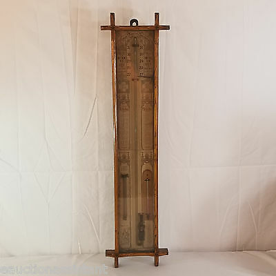 Antique Admiral Fitzroy Barometer Thermometer in Oak Case 1880