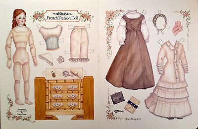 Rita French Fashion Paper Doll by Karen Prince, Color Plate, 1993  Doll Mag,