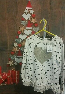 Girls 2 piece outfit sequin heart and black leggings 1-1.5 years BNWT