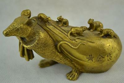 Old China Brass Carving Mouse Carry Gold Bag Small Mouse Get Rich Lovely Statue