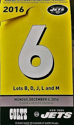 NY New York Jets Indianapolis Colts Yellow Park Parking Pass