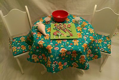 """Baking Fun Play Food Set with Wooden Table and Chairs - Great Size For 18"""" Dolls"""