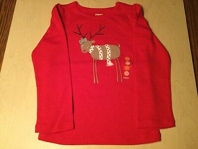 New Gymboree Toddler Girl Christmas Holiday Winter Top Reindeer Size 5T
