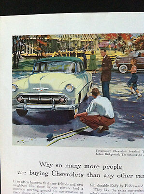 Vintage 1950s Chevy Car Magazine Ad Bel Air Sport Coupe Chevrolet